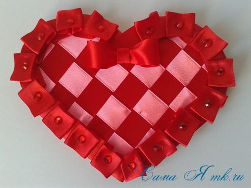 сердечки из атласных лент ко дню святого валентина своими руками 28