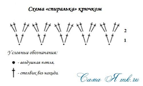 схема спиралька крючком