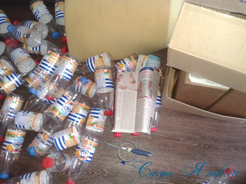 как сделать пуф из пластиковых бутылок 1