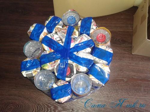 как сделать пуф из пластиковых бутылок 12