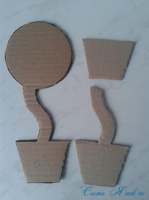 топиарий магнит на холодильник из картона своими руками и сизаля 3
