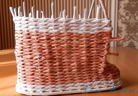 ботинок башмак из бумажных газетных трубочек технология плетения 3
