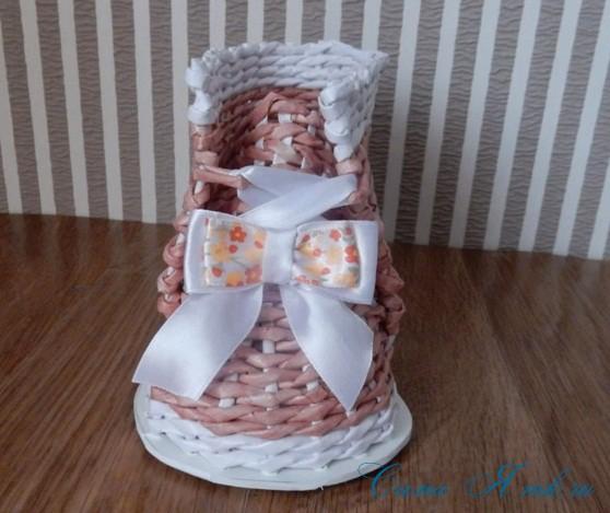 ботинок башмак из бумажных газетных трубочек технология плетения 5