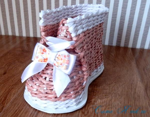 ботинок башмак из бумажных газетных трубочек технология плетения 6