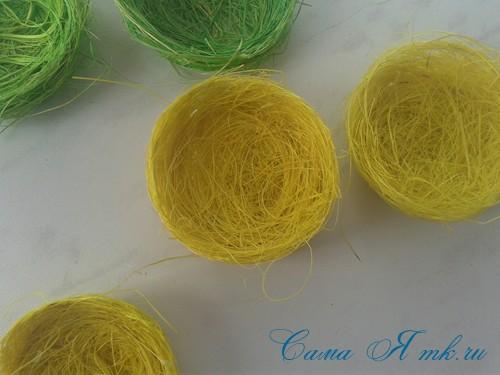 гнезда гнездышки магниты из волокна сизаля своими руками 8
