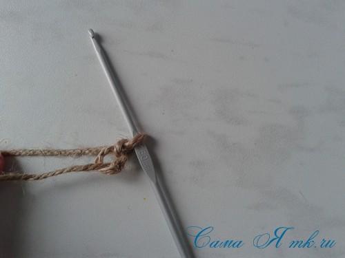 как обвязать крючком схема ведерко из-под майонеза шпагатом 2