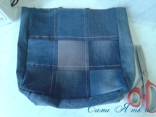 сумка из старых джинс джинсовой ткани схема мастер-класс мк своими руками 19