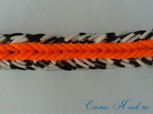 шестизвенный рыбий хвост или рыбий хвост с бортами браслет из резинок на рогатке 64