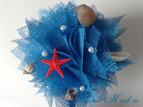 морской топиарий из флористической сетки и ракушек 20
