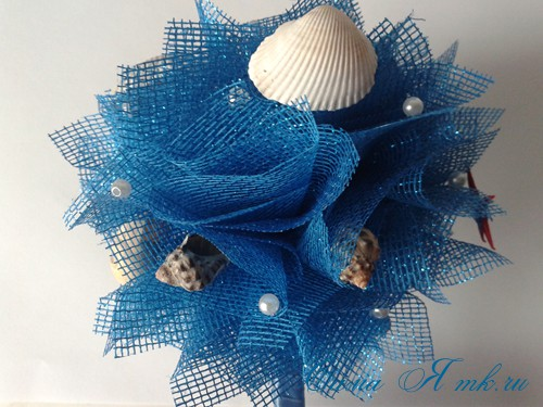 морской топиарий из флористической сетки и ракушек 21