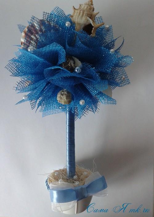 морской топиарий из флористической сетки и ракушек 25