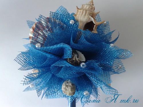 морской топиарий из флористической сетки и ракушек 28