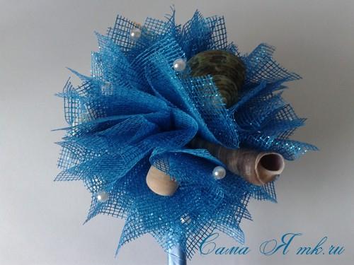 морской топиарий из флористической сетки и ракушек 29