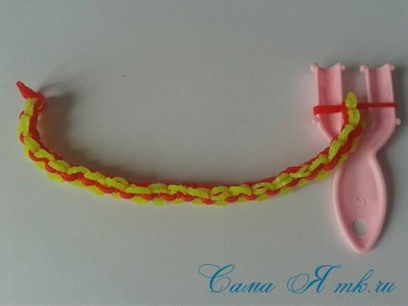 браслет из резинок на рогатке круговые узелки для начинающих 35