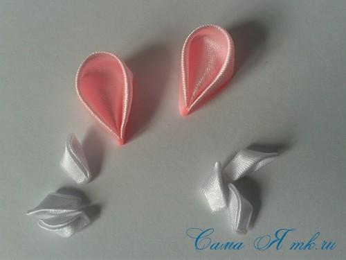 заколочка сердечко канзаши из атласных лент своими руками мк мастер-класс 28