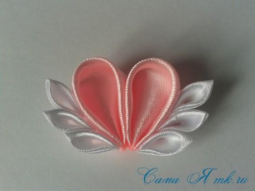 заколочка сердечко канзаши из атласных лент своими руками мк мастер-класс 33