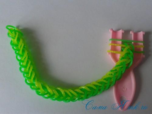 плетение браслета на рогатке французская коса схема мк для начинающих 32