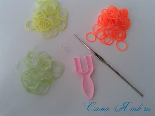 браслет из резинок косы ивы на рогатке плетение для начинающих 1