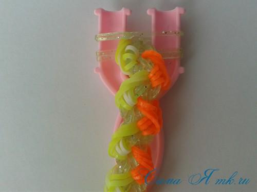 браслет из резинок косы ивы на рогатке плетение для начинающих 58