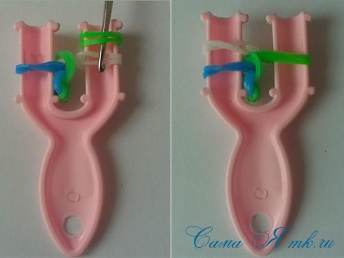 браслет из резинок на рогатке велосипедная цепь плетение для начинающих 30