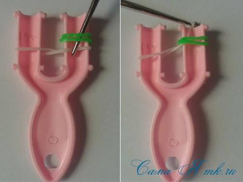 браслет из резинок на рогатке велосипедная цепь плетение для начинающих 4