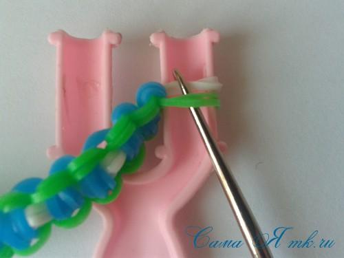 браслет из резинок на рогатке велосипедная цепь плетение для начинающих 67