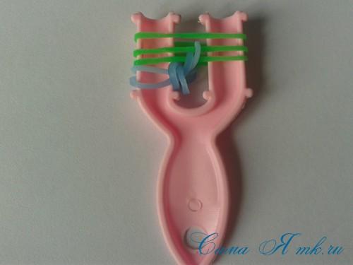 браслет из резиночек бок о бок плетение для начинающих на рогатке 10