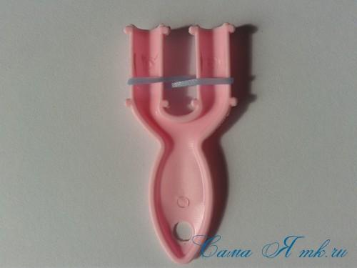 браслет из резиночек бок о бок плетение для начинающих на рогатке 2
