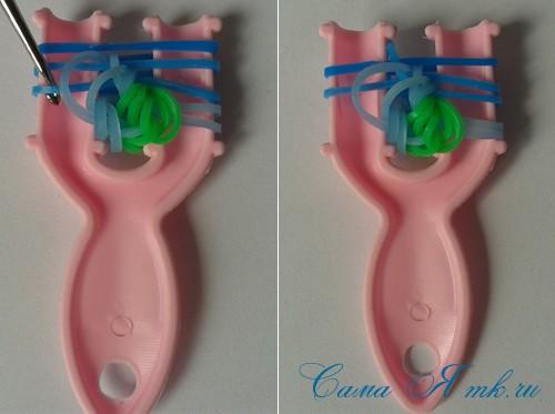 браслет из резиночек бок о бок плетение для начинающих на рогатке 20