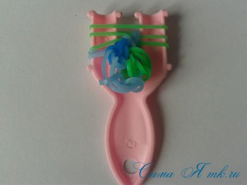 браслет из резиночек бок о бок плетение для начинающих на рогатке 29