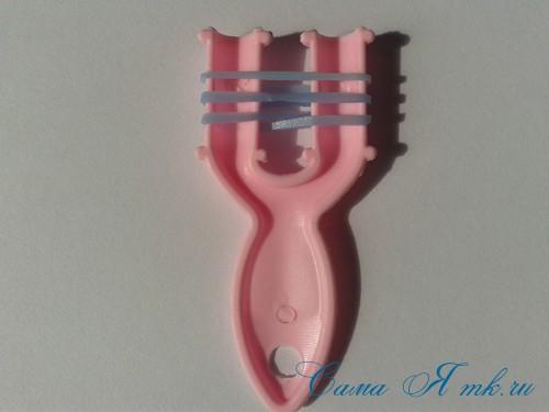 браслет из резиночек бок о бок плетение для начинающих на рогатке 3