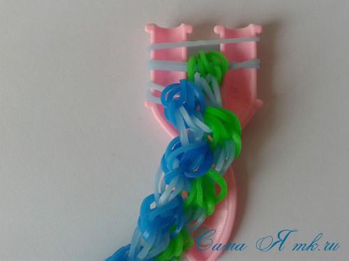 браслет из резиночек бок о бок плетение для начинающих на рогатке 36