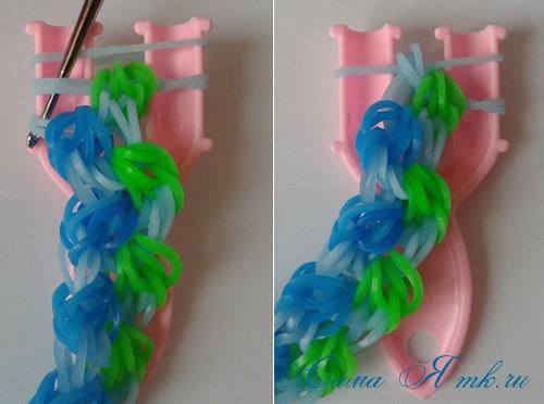 браслет из резиночек бок о бок плетение для начинающих на рогатке 37