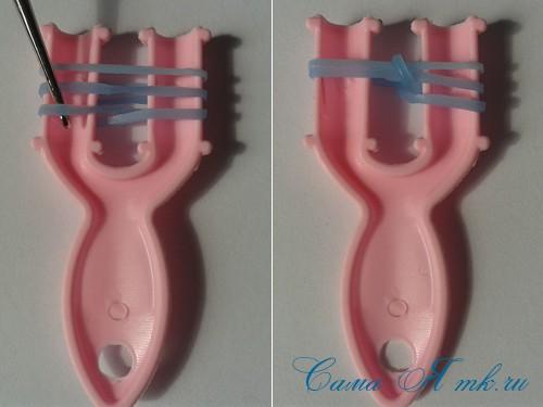 браслет из резиночек бок о бок плетение для начинающих на рогатке 4