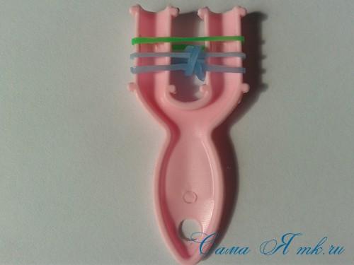 браслет из резиночек бок о бок плетение для начинающих на рогатке 6