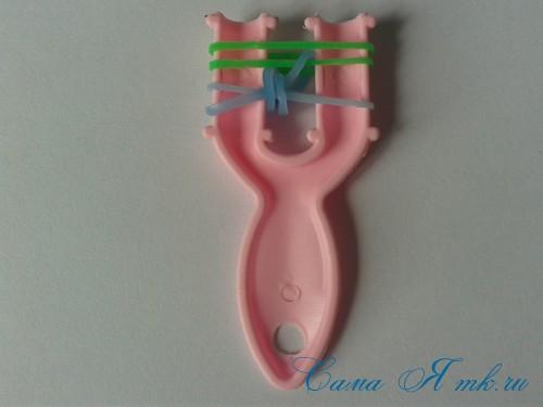 браслет из резиночек бок о бок плетение для начинающих на рогатке 8
