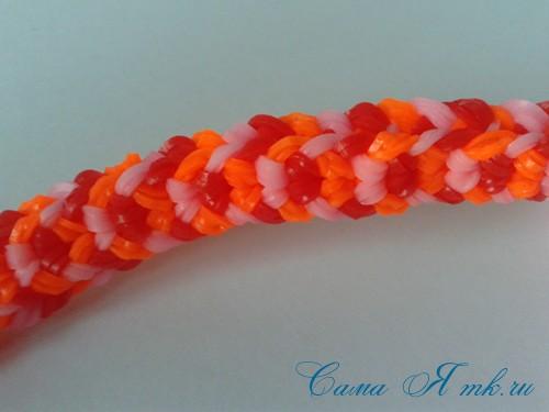 Браслет снейк из резинок на РОГАТКЕ SNAKE bracelet Простой и широкий плетение начинающим 16