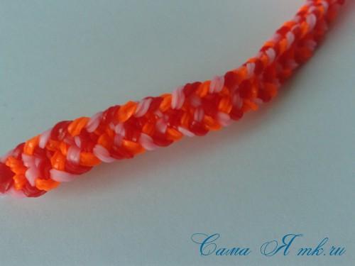 Браслет снейк из резинок на РОГАТКЕ SNAKE bracelet Простой и широкий плетение начинающим 17