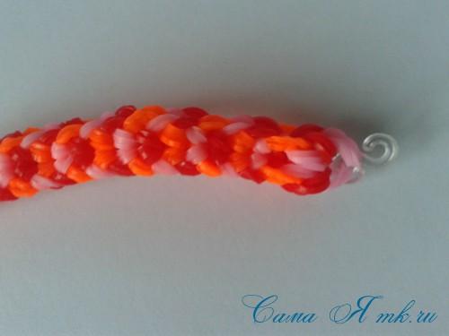 Браслет снейк из резинок на РОГАТКЕ SNAKE bracelet Простой и широкий плетение начинающим 23