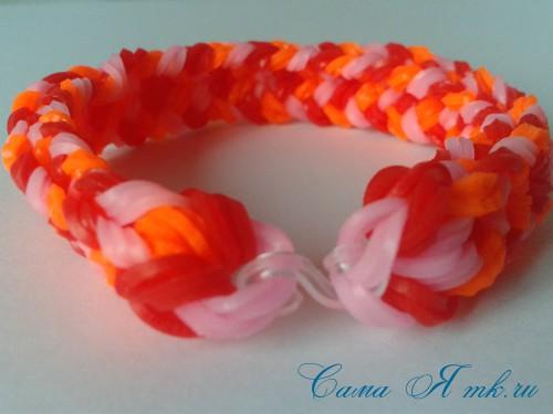 Браслет снейк из резинок на РОГАТКЕ SNAKE bracelet Простой и широкий плетение начинающим 24