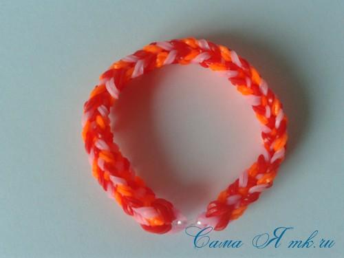 Браслет снейк из резинок на РОГАТКЕ SNAKE bracelet Простой и широкий плетение начинающим 25