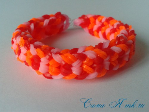 Браслет снейк из резинок на РОГАТКЕ SNAKE bracelet Простой и широкий плетение начинающим 26