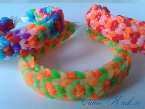 Браслет снейк из резинок на РОГАТКЕ SNAKE bracelet Простой и широкий плетение начинающим 27