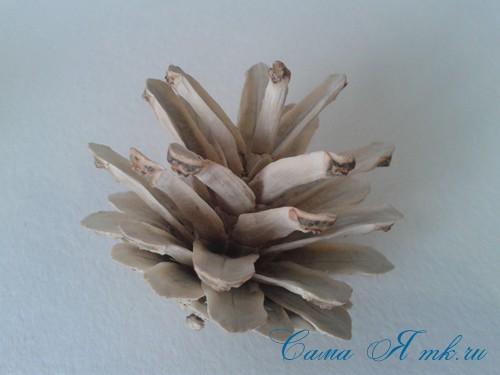 белые шишки для новогоднего декора отбеливаем сосновые шишки белизной 13