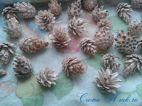белые шишки для новогоднего декора отбеливаем сосновые шишки белизной 9