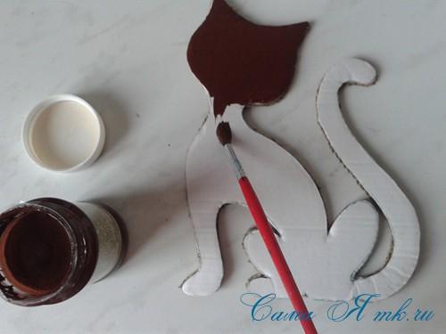 кофейный кот магнит на холодильник из кофейных зерен своими руками 12