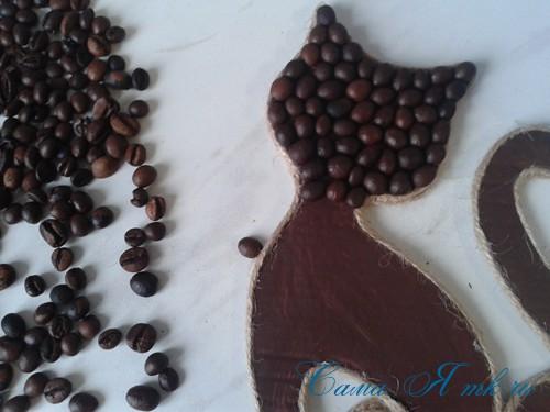 кофейный кот магнит на холодильник из кофейных зерен своими руками 25