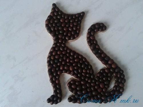 кофейный кот магнит на холодильник из кофейных зерен своими руками 26