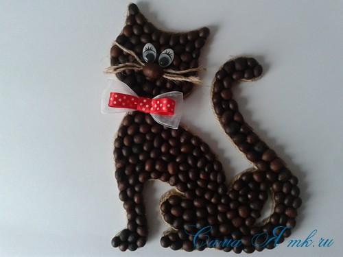 кофейный кот магнит на холодильник из кофейных зерен своими руками 37