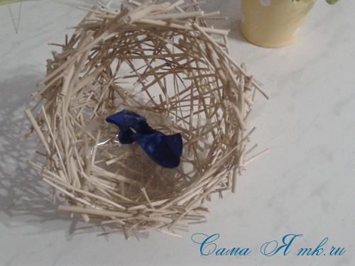 топиарий из палочек веток шпажек птичье гнездо гнездышко пошаговый мк с фото своими руками 22